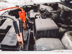 Dead Car Battery & Jumper Cables